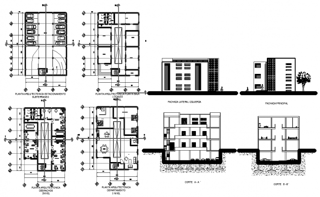 Stores, Offices, Apartments, Parking--4storeys.