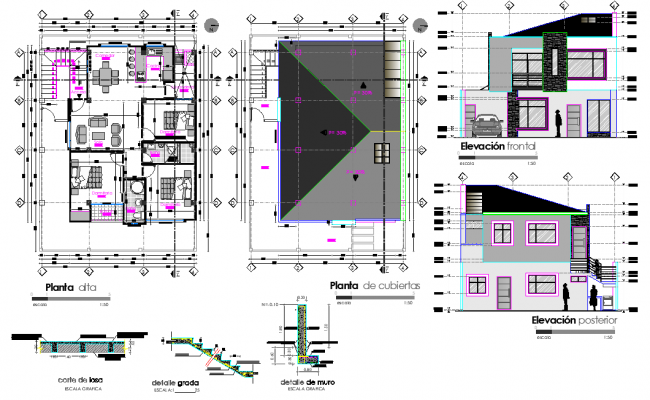Story house plan and section autocad file