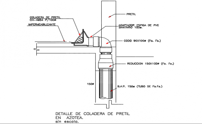 Strainer pluvial drain age dwg file