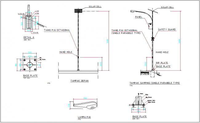 Street lamp detail dwg file