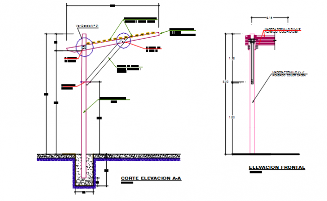 Street light elevation detail dwg file