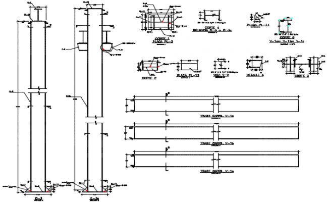 Street light plan and section detail dwg file