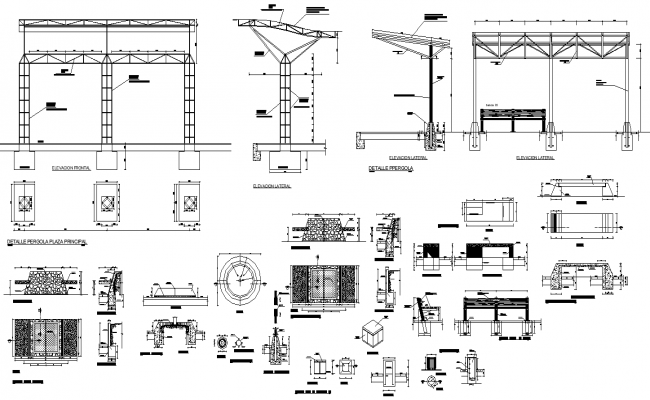 Streetlight detail section and elevation 2d view layout autocad file