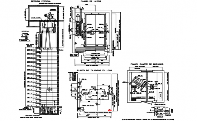 Stretchers elevator plan elevation and section detail dwg for Elevator plan drawing