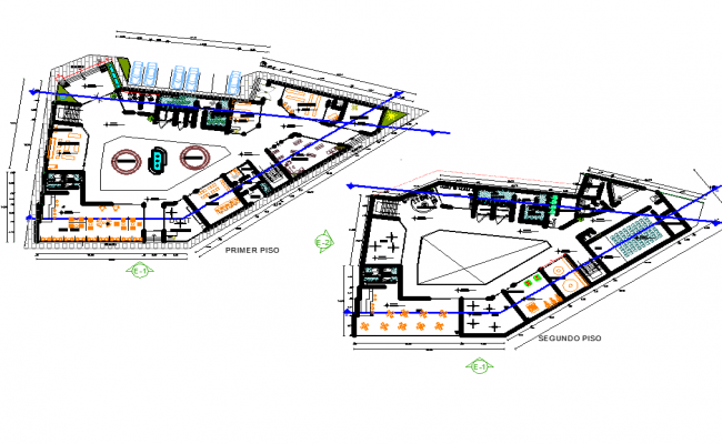 Strip mall center plan autoacd file