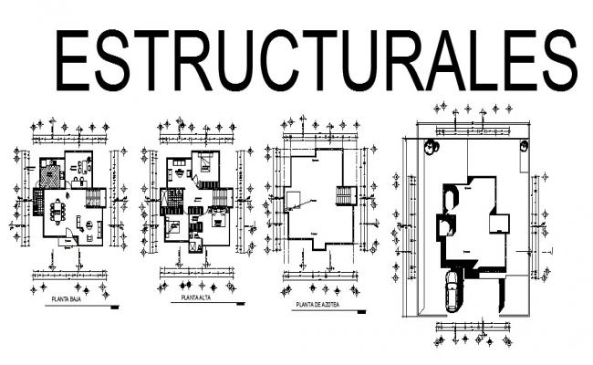 Structural Plan of bungalow 11.08mtr x 11.34mtr in dwg format