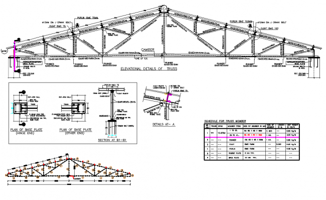 Structural Roof truss plan detail
