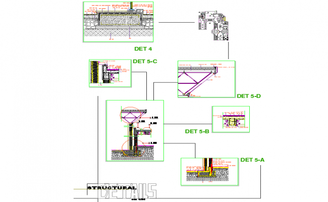 Structural Wall section detail dwg file