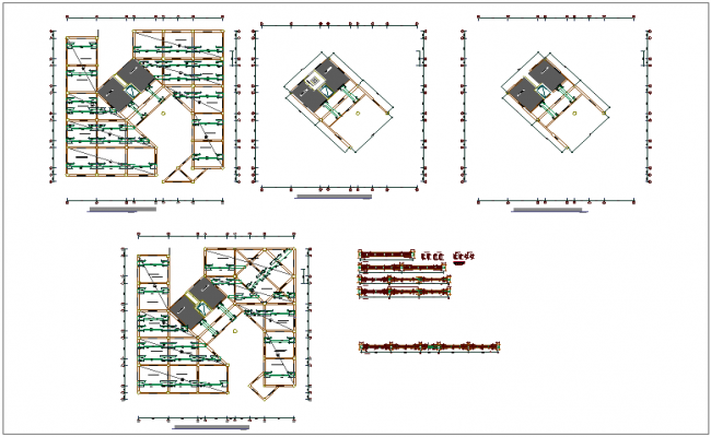 Structural beam view with first to fifth floor of municipal building dwg file