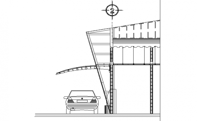 Structural brackets for roofing with poly carbonate detail dwg file