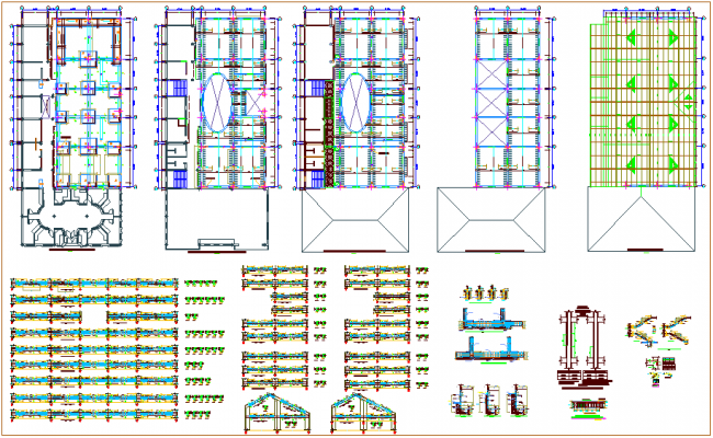 Structural design of college building with view of beam,column and stair detail dwg file