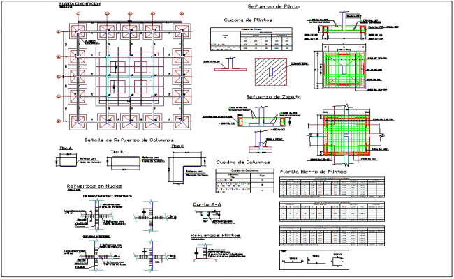 Structural design of column view for building structure dwg file