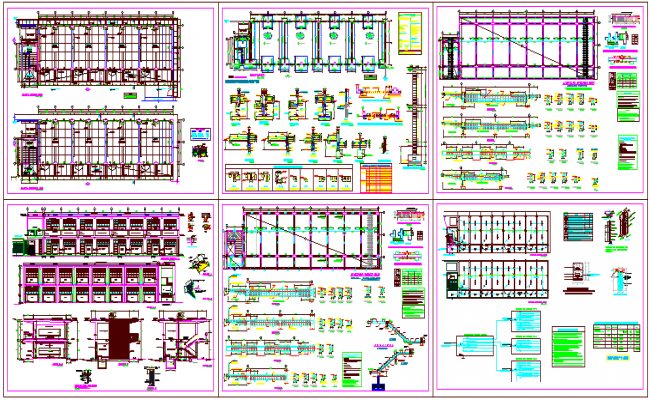 Structural design view of collage class room with detail view dwg file