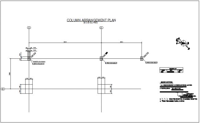 Structural design view of column arrangement plan dwg file