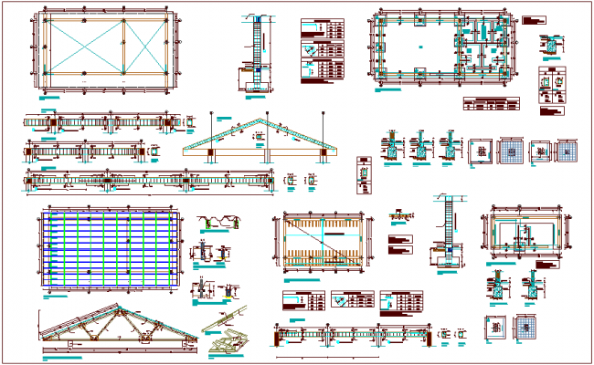 Structural design view of education center class room with column and truss view dwg file