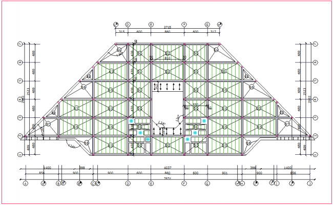 Structural design view of plan for industrial building dwg file