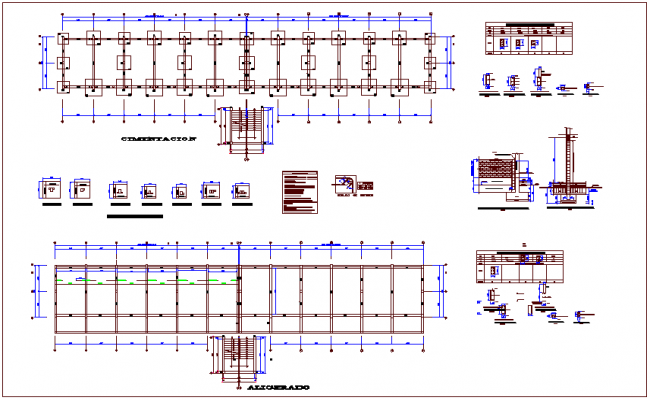 Structural design view with column view for collage dwg file