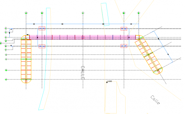 Structural detail of a footbridge dwg file