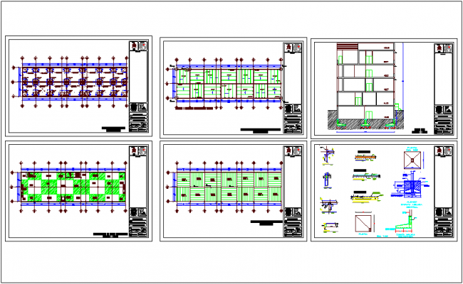 Structural detail of office building with plan and section view dwg file