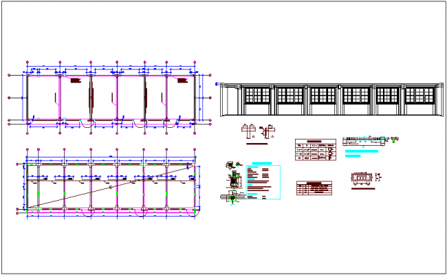 Structural detail view with improvement plan dwg file