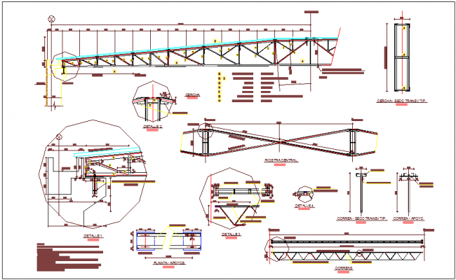 Structural detail with 12 meter truss elevation dwg file