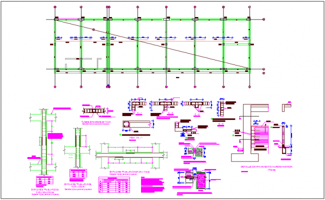 Structural detail with column view dwg file