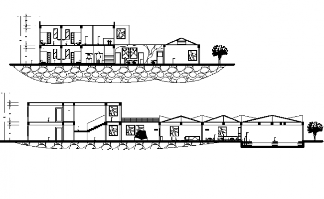 2 Storey House Section In DWG File