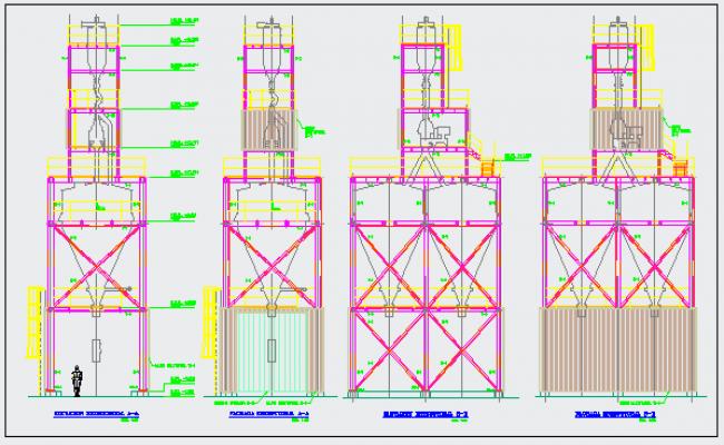 Structural elevation design of Tower for trash design drawing