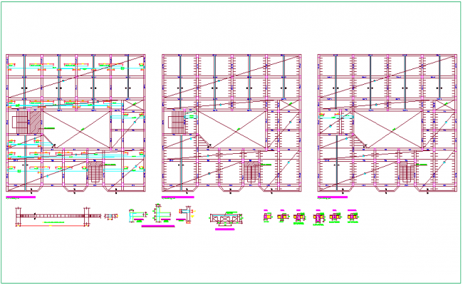 Structural floor plan with detail for Los angles collage dwg file