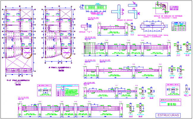 Structural floor plan with detail view dwg file