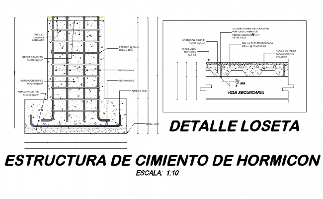 Structural foundation plan detail dwg file