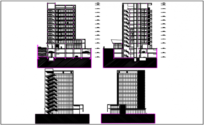 Structural high rise building elevation and section detail dwg file