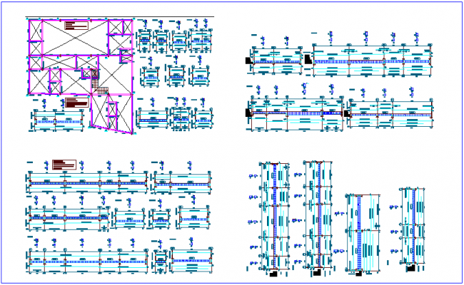 Structural plan,elevation and detail view of column for hospital dwg file