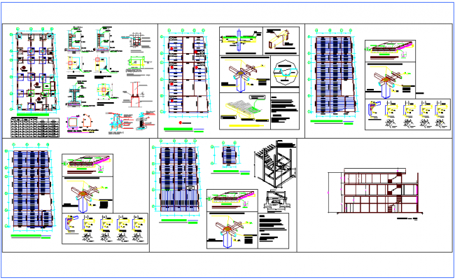Structural plan,section view and detail of commercial building dwg file