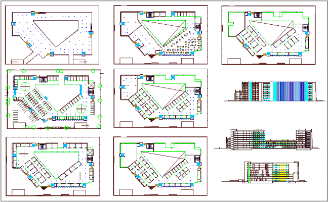 Structural plan and elevation of office building dwg file