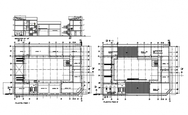 Structural plan and section plan detail dwg file
