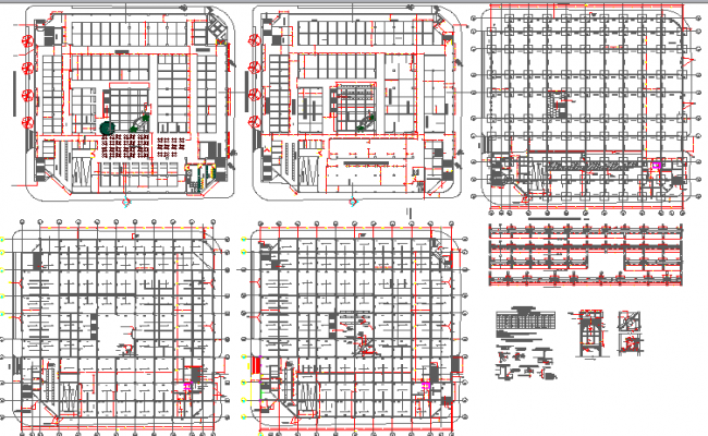 Structural plan details of multi-level shopping center dwg file