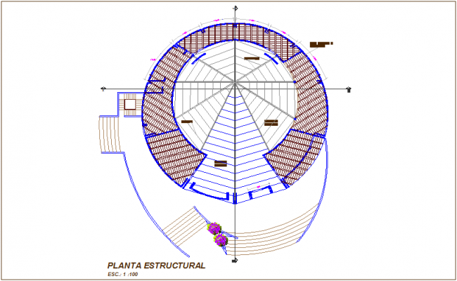 Structural plan of multi purpose use room dwg file