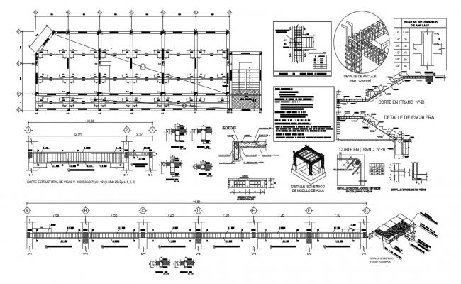 Structural plan of the classroom with detail dimension in dwg file