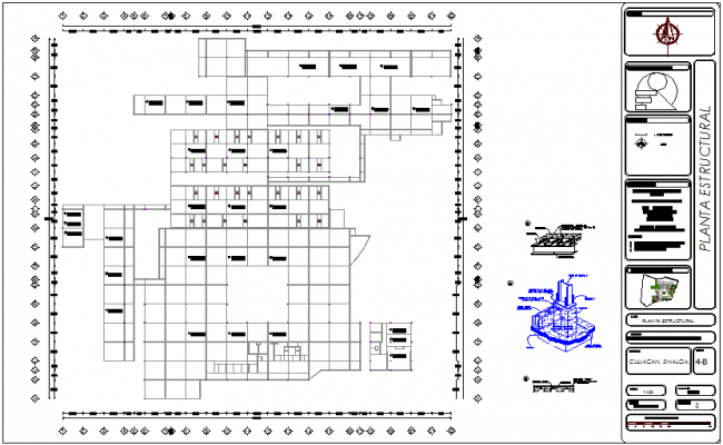 Structural plan with detail of Geriatric hospital dwg file