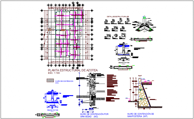 Structural plan with detail of clinic dwg file