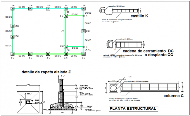Structural plan with detail view for church project dwg file