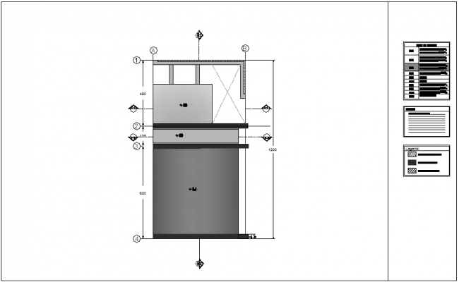Structural system view of roof floor plan for single apartment dwg file