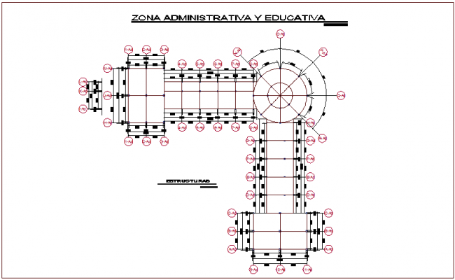 Structural view of admin area of youth development center dwg file