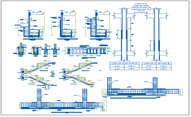 Structural view of collage with section view dwg file