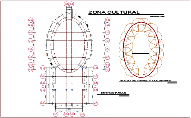 Structural view of cultural area and trail of beam and column for youth development center dwg file