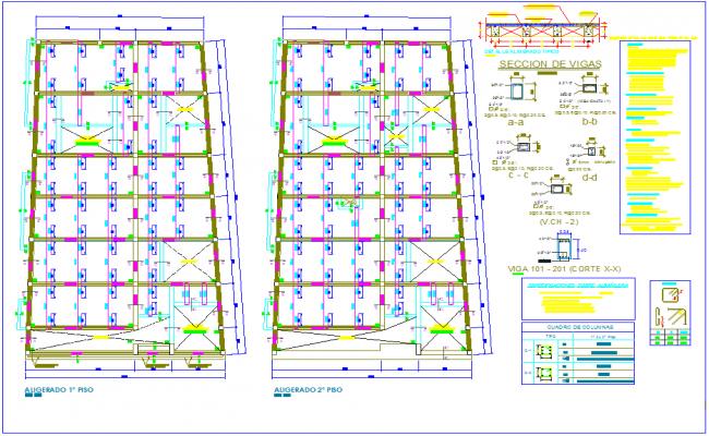 Structural view of first and second floor plan for two level house dwg file