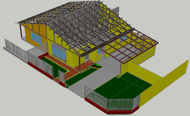 Structural view of house in 3d dwg file