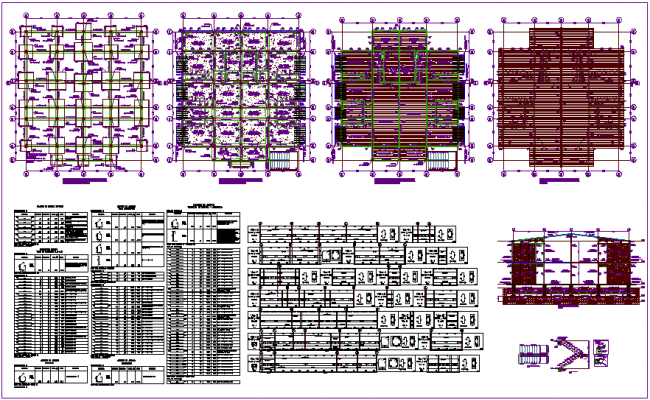 Structural view of library with plan and section view and structural detail dwg file