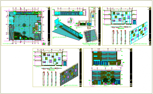 Structural view of platinum plaza with plan and section view dwg file
